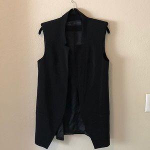 Zara longline black blazer vest